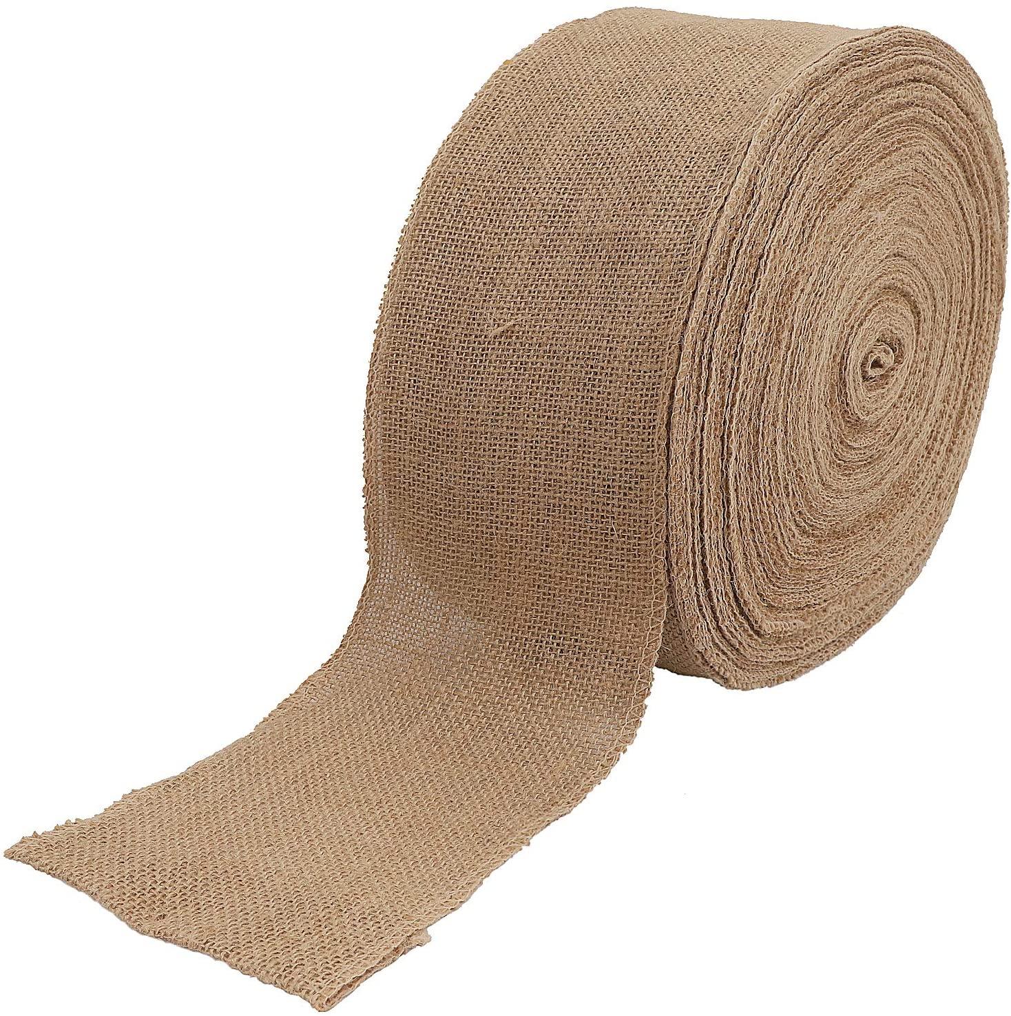 KINJOEK 5 Inch Wide 54 Yards Burlap Ribbon, Natural Jute Fabric Ribbon Crafts Ribbon for Christmas Wedding Gifts Burlap Fabric DIY Ribbon for Decoration