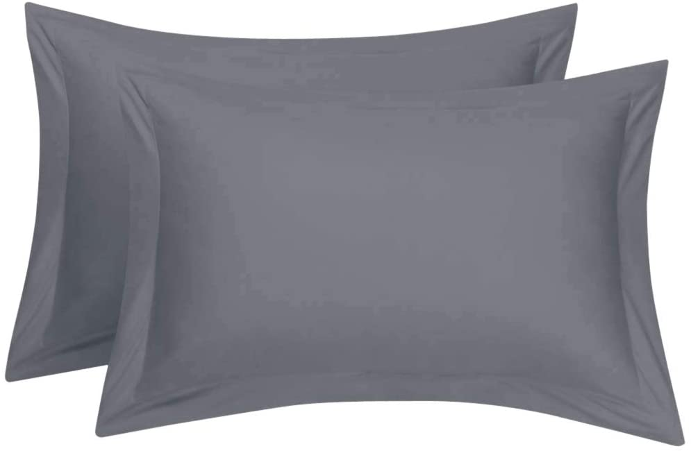 Cotton Star Queen Pillow Shams Set of 2 Grey 100% Organic Cotton Genuine 600 Thread Count Grey Pillow Shams Queen Size 20X30 Decorative Pillow Cover with 2 Inch Border