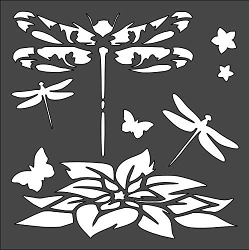 Rubstamper Dragonfly Logo Stencil Reusable Sturdy Flexible Clear Plastic 1-5.5x5.5 in Arts and Crafts Material Scrapbooking for Airbrush Painting Drawing