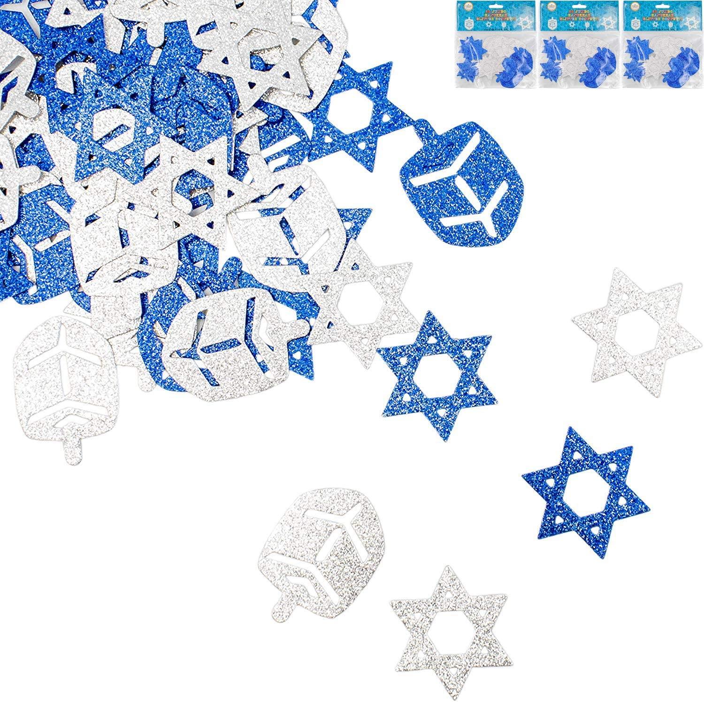 Jumbo Hanukkah Glitter Confetti - Holiday Confetti - Star of David - Dreidel - Blue and Silver (3-Pack)