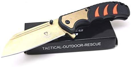 Snake Eye Tactical Folding Knife | Outdoor Survival Pocket Knife | Small one-Hand Knife Made of Stainless Steel Blade| Ideal for Recreational Work Hiking Camping (Orange)
