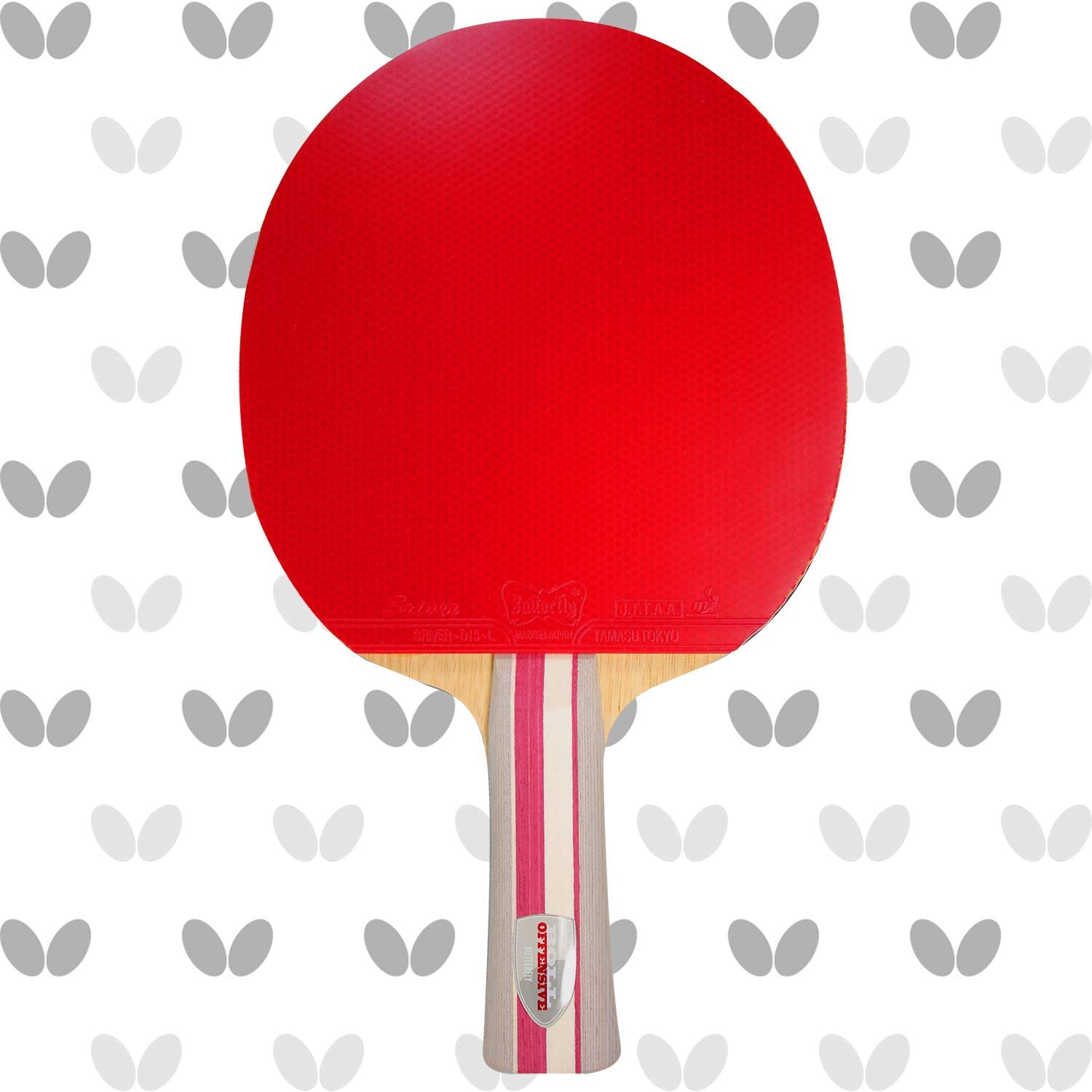 Butterfly Boll Offensive Blade & Sriver Rubber Shakehand Table Tennis Racket - Pro-Line Series - Offensive-Minded Racket for a Well-Balanced Allround Attack - Recommended For Advanced Level Players