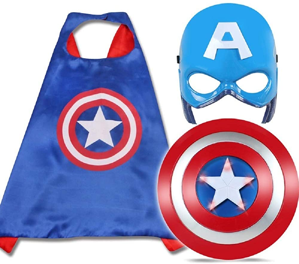 Superhero Cape Set Toy LED Captain America Shield and Cosplay Childrens Costume, Iron Man Captain America Mask