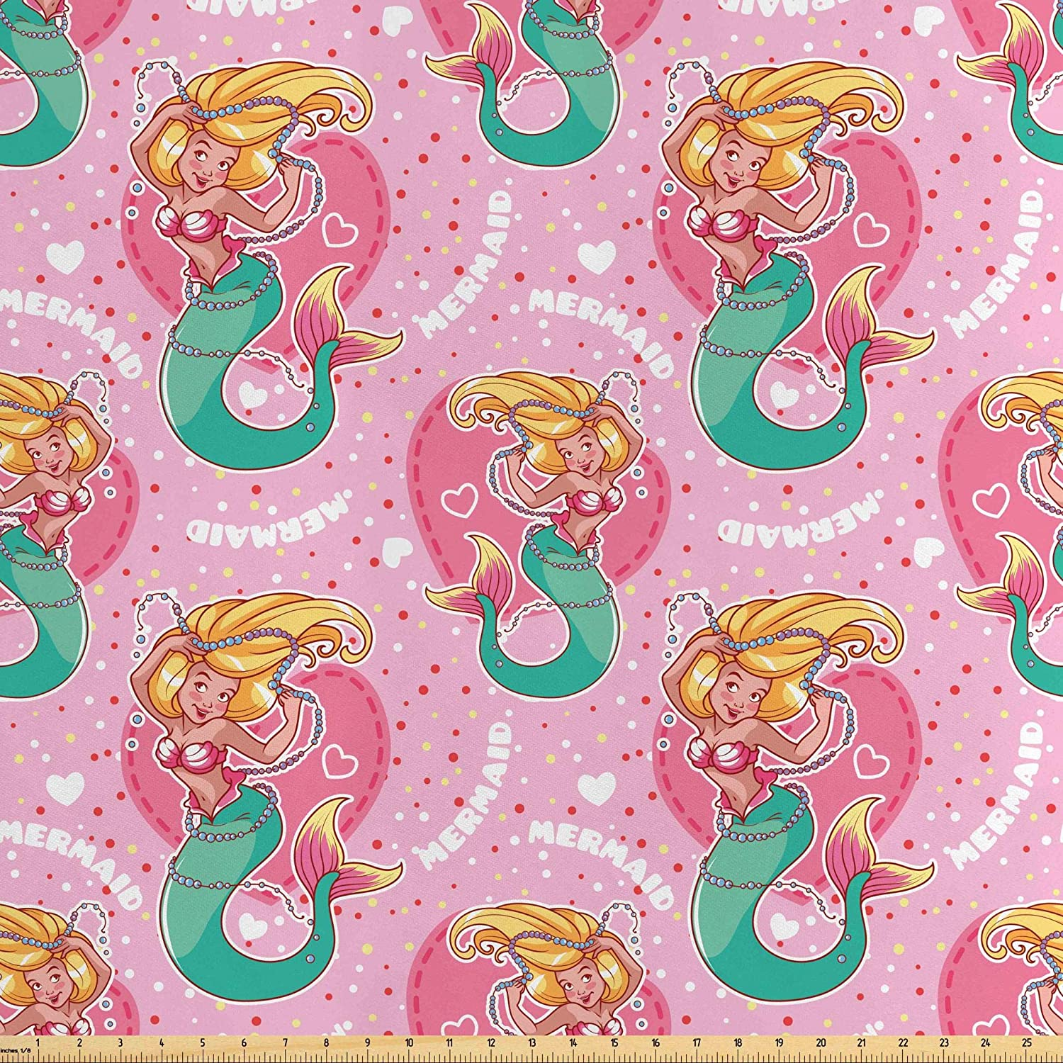 Lunarable Mermaid Fabric by The Yard, Pink Hearts and Mermaid Mythological Tale Underwater Life, Decorative Satin Fabric for Home Textiles and Crafts, 1 Yard, Sea Green Pink Yellow