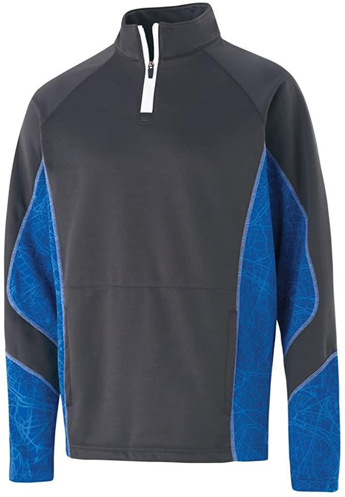 Holloway Adult Complex Pullover (Large, Carbon/Royal/White)