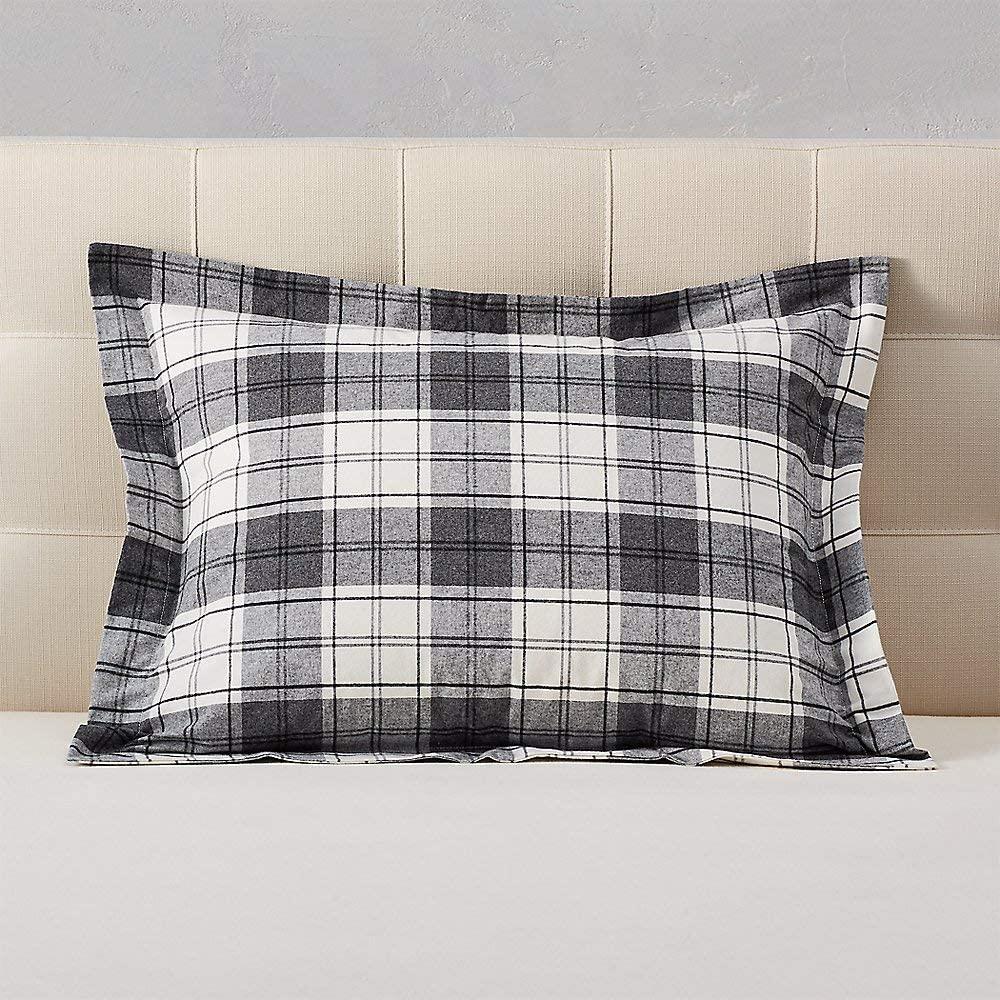 Eddie Bauer Unisex-Adult Flannel Pillow Sham - Pattern, Gray HTR Standard STANDA