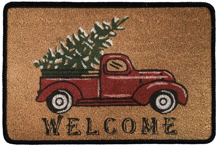 Babrukda Truck Carrying Christmas Tree Doormat Welcome Front Door Mat Kitchen Bathroom Non-Slip Carpet Garage Patio High Traffic Areas Rug Water Absorption with Rubber Backing for Shoe Scraper