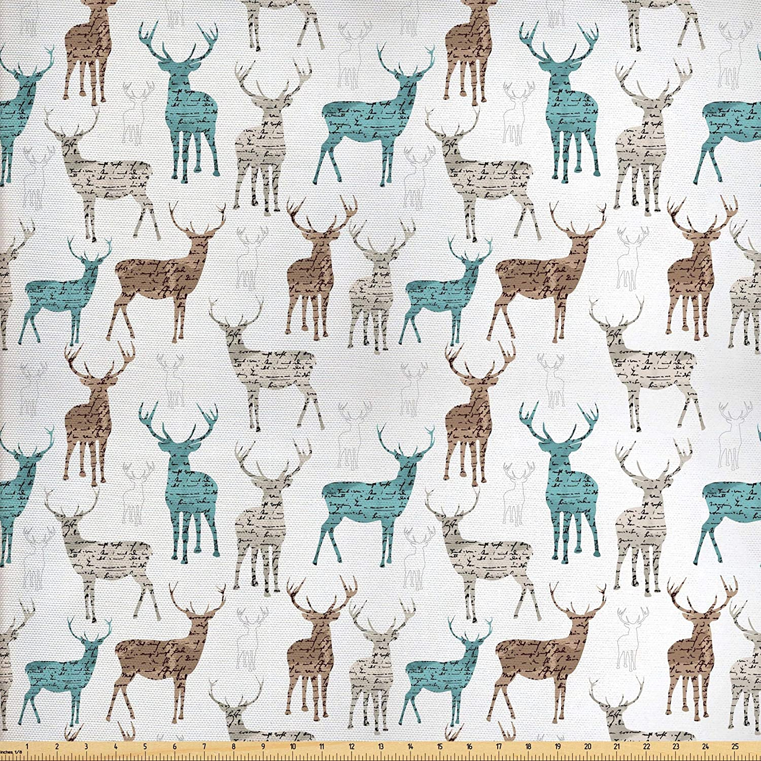 Ambesonne Deer Fabric by The Yard, Animals with Old Text Pattern Christmas Theme Vintage Inspired Illustration, Decorative Fabric for Upholstery and Home Accents, 2 Yards, Turquoise Beige