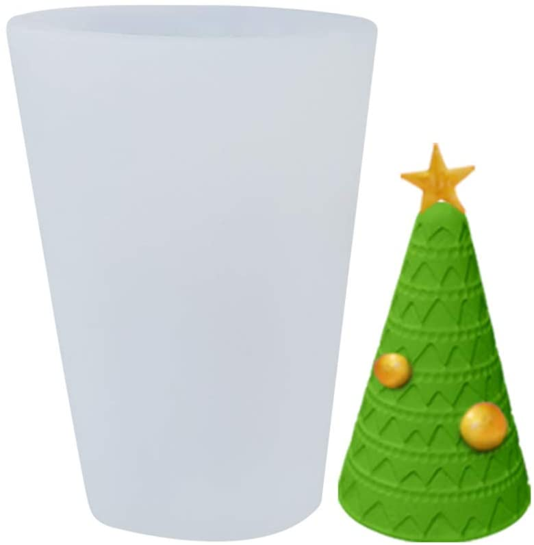 YU-NIYUT 3D Christmas Tree Snow House Candle Mold Silicone Soap Mould Clay Making Baking Silicone Molds for Making Beeswax Candles Soaps Lotion Bars Bath Bombs