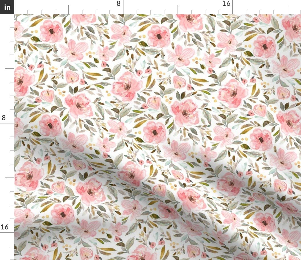 Spoonflower Fabric - Bloom Sweet Garden Spring Baby Toddler Pink Pastel Soft Floral Flowers Printed on Cotton Spandex Jersey Fabric by The Yard - Fashion Apparel Clothing with 4-Way