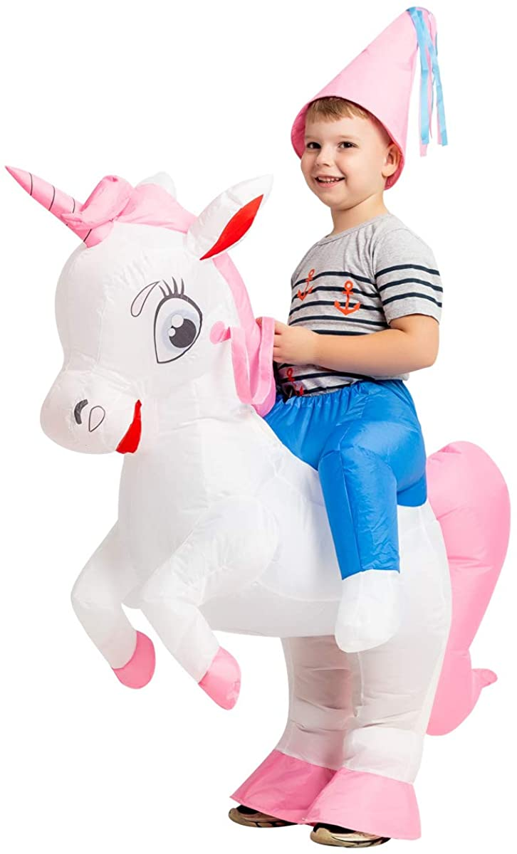 GOOSH Kids Inflatable Unicorn Costume Rider Costume for Halloween Blow Up Costumes Girls