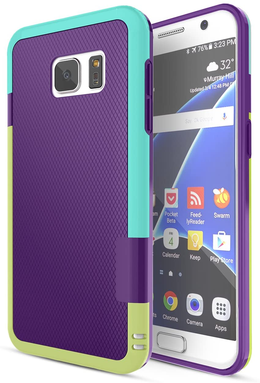 Galaxy S7 Case, TILL(TM) Ultra Slim 3 Color Hybrid Dual Layer Shockproof Case [Extra Front Raised Lip] Soft TPU & Hard PC Bumper Protective Case Cover for Samsung Galaxy S7 S VII G930 GS7 [Purple]