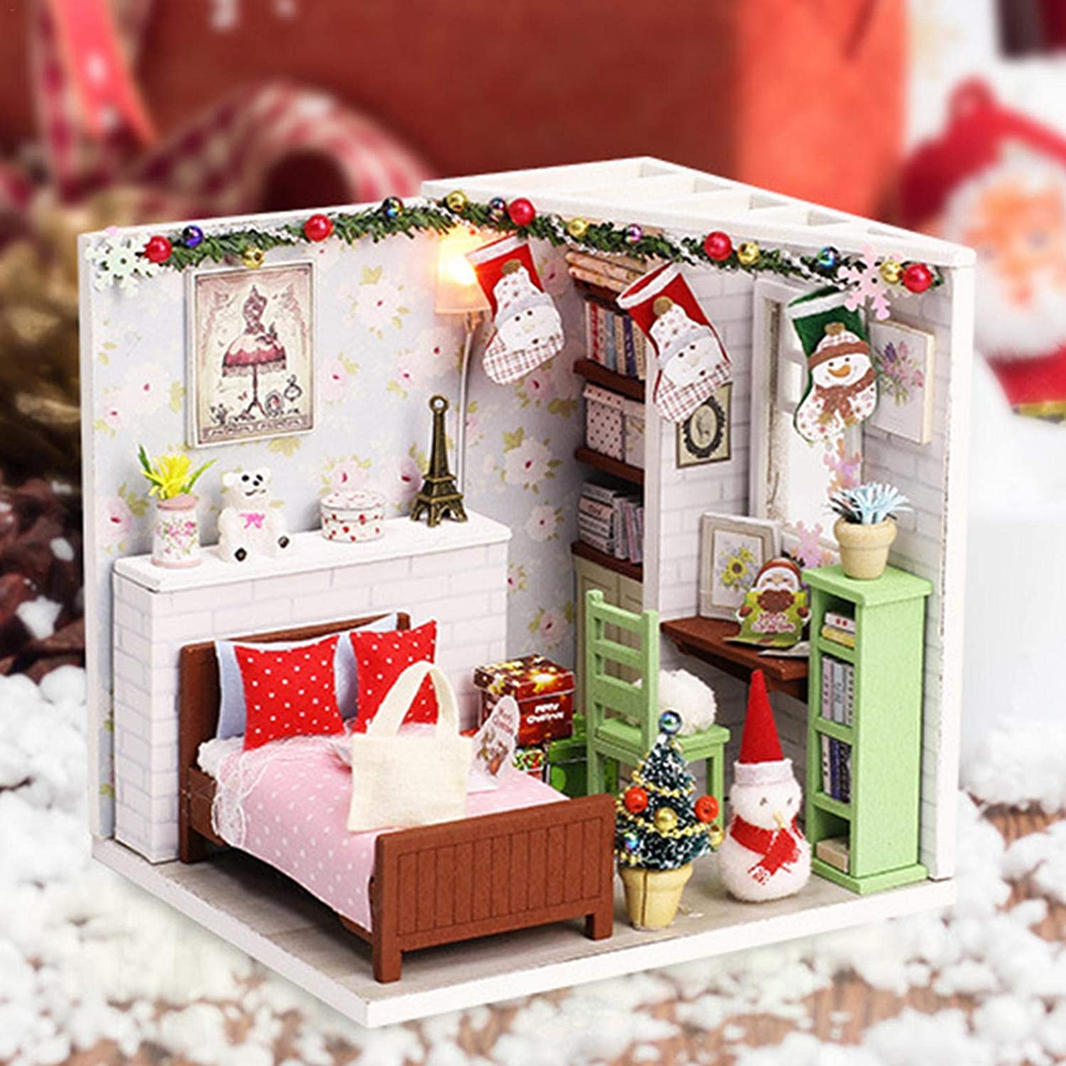 slientC Dollhouse Miniature Kit with Lights and Furnitures DIY House Craft Kits