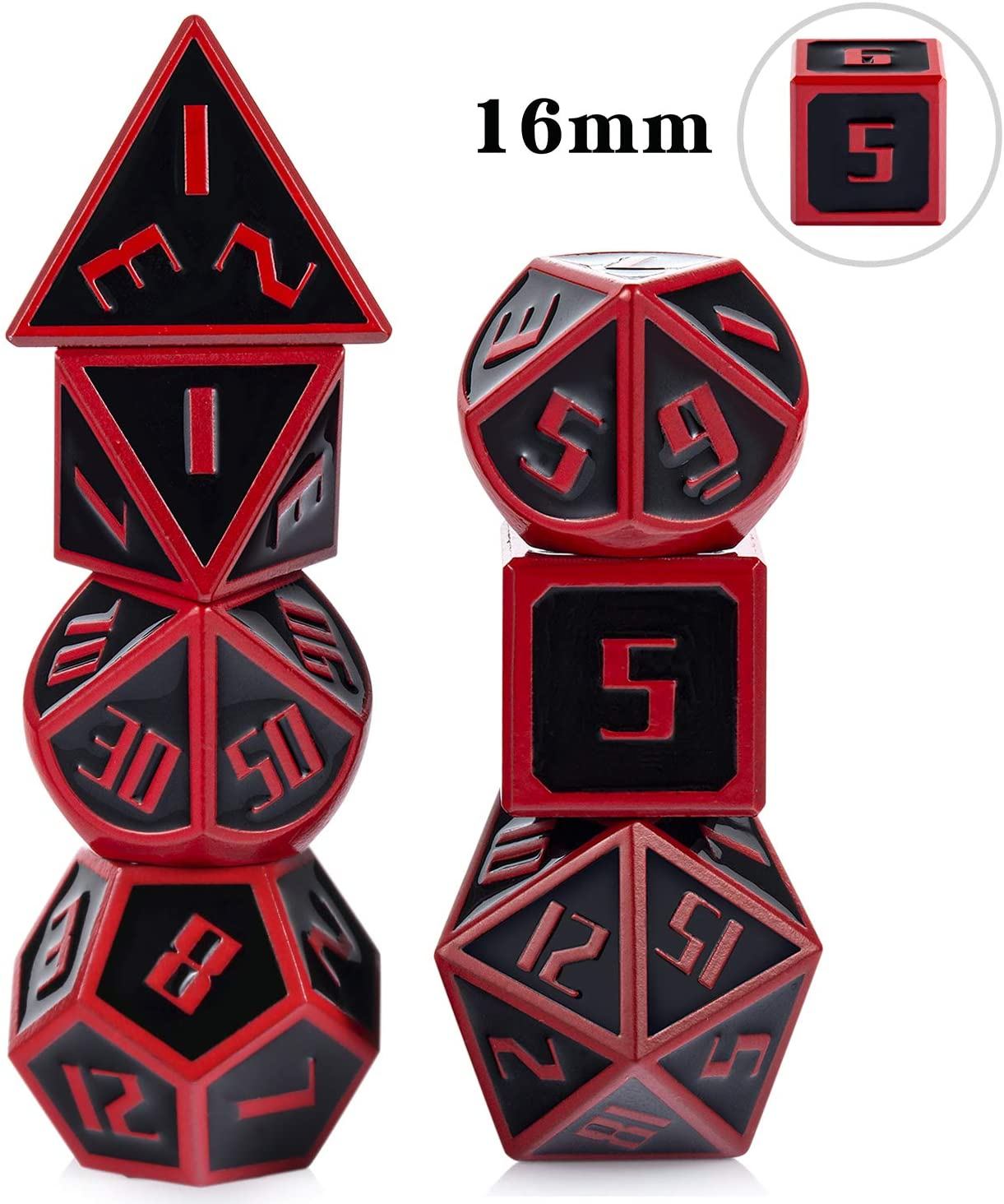 16mm DND Metal Dice Set Black&Red Polyhedral D&D Dice with Metal Case and Velvet Bag for Playing Tabletop Roleplay Games Dungeons and Dragons by ALLCOLORED
