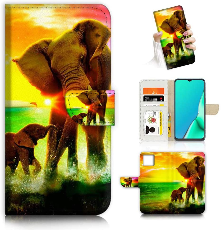 for iPhone 11 Pro Max, Designed Flip Wallet Phone Case Cover, A23243 Elephant Family 23243