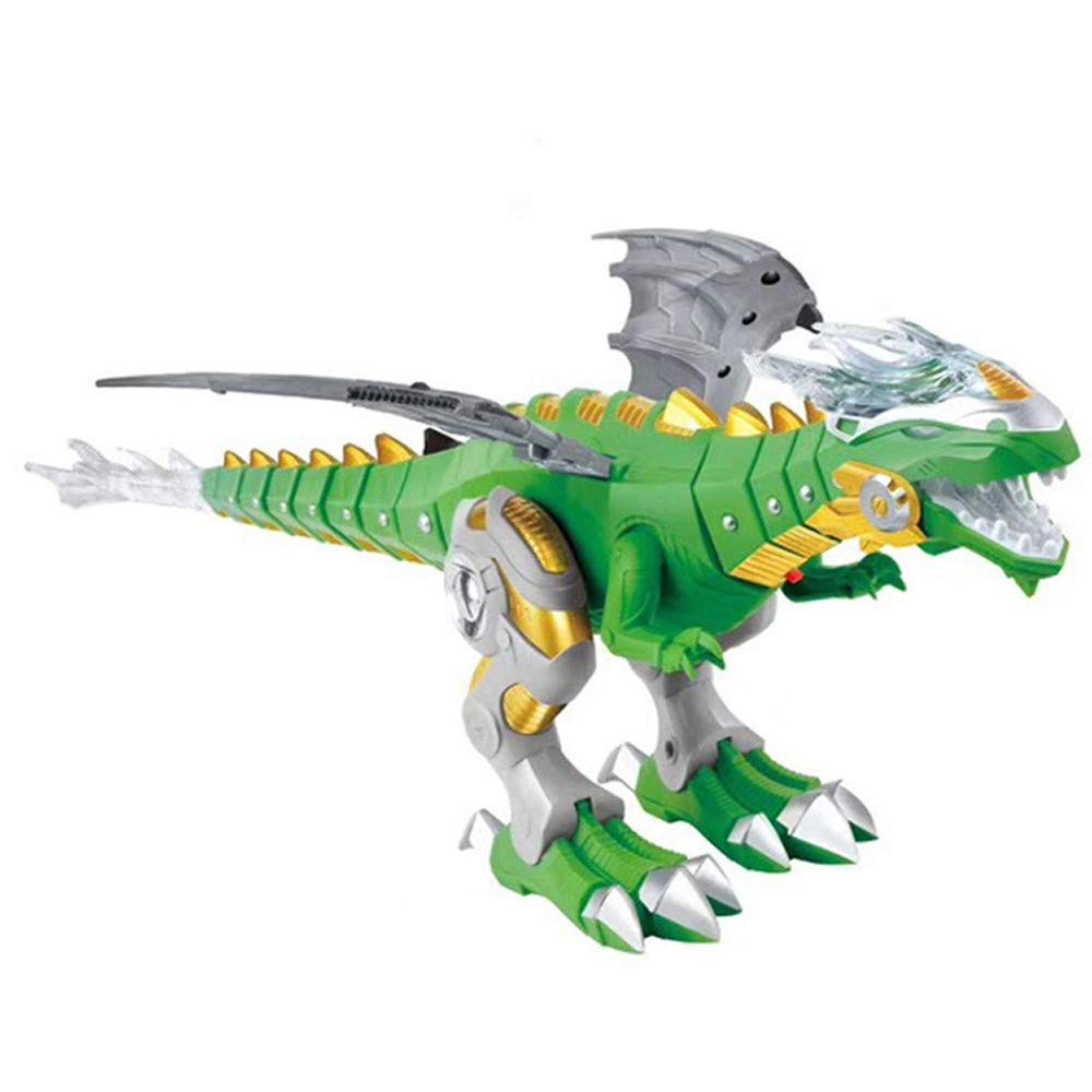 Walking Dinosaur-Dragon Hybrid Toy - Robot Dinosaur remote control Toy for Kids Boys Girls 3 4 5 6-14 Year Old Gifts - Mist Spray and Fire Breathing with Sound & Lights, Swings wings & wags tail (B)