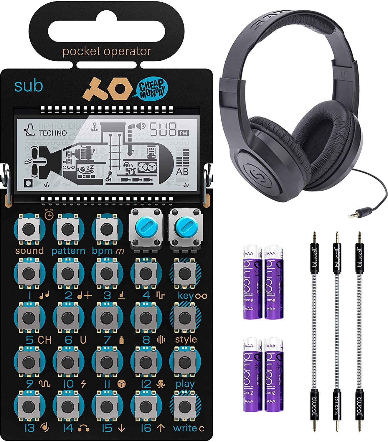 Teenage Engineering PO-14 Pocket Operator Sub Bass Synthesizer Bundle with Samson SR350 Over-Ear Closed-Back Headphones, Blucoil 3-Pack of 7