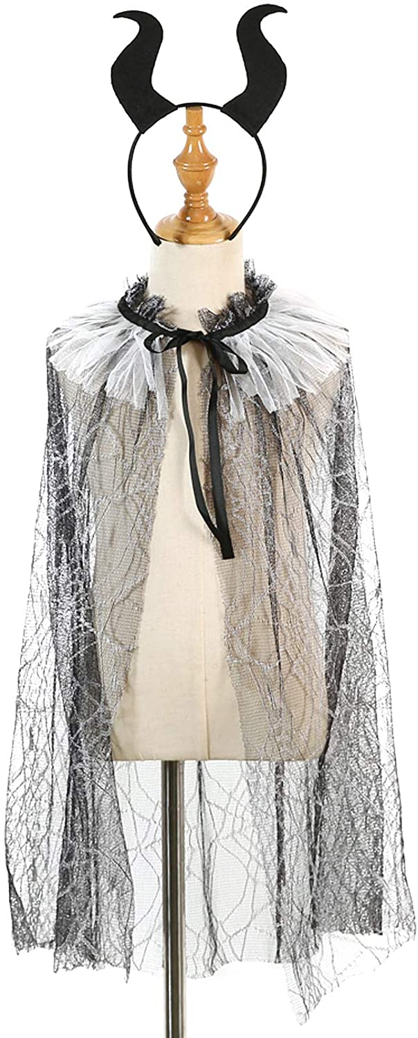 LERTREE Halloween Kids Girls Cloak Black Lace Skeleton Spider Web Printed Witch's Cape with Headband Costume Party Dress Up