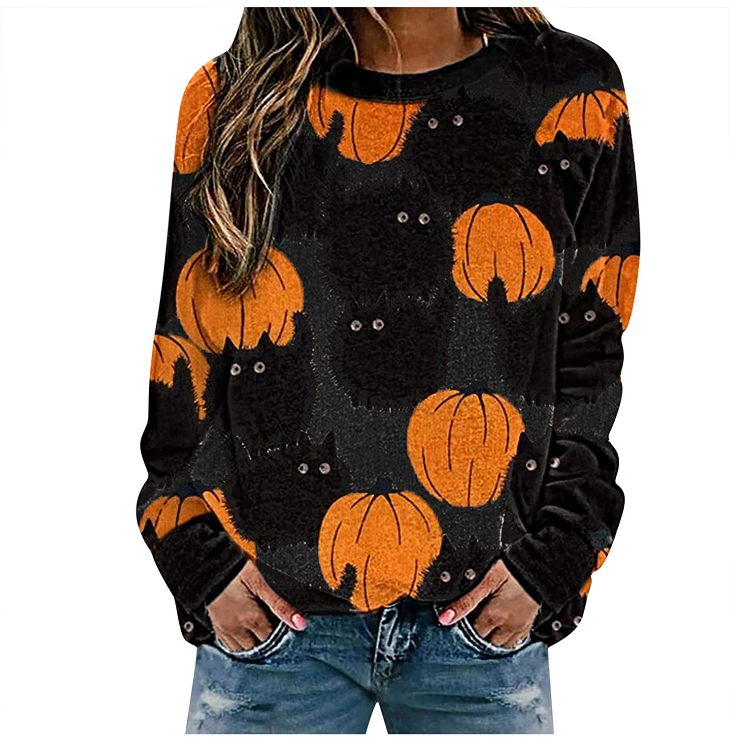 Womens Sweatshirts,Halloween Pumpkin Cat Shirts Casual Loose Fit Graphic Sweater Crewneck Blouse Long Sleeve Tops