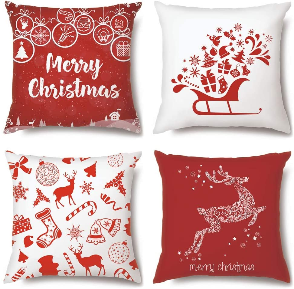 Soleebee Set of 4 Throw Pillow Covers Christmas Decoration Pillowcase Cushion Cover for Couch Sofa Bed Car 18x18 Inch (Christmas Cadeau)