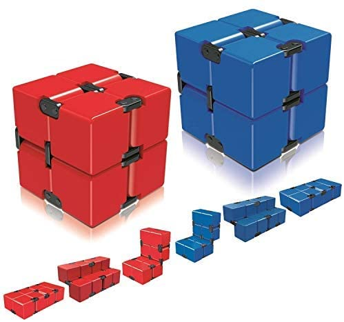 Ganowo Infinity Cube Fidget Toy for Kids and Adults, Fidget Cube Cool Mini Magic Cube Gadget for Stress and Anxiety Relief and Kill Time (Blue&Red)