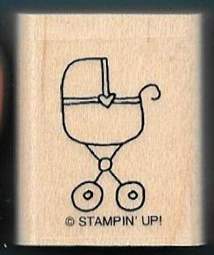 Rubber Stamps Cradle Stroller Heart Cute & Classic Wood Mount Stamp for Teaching Card Making, DIY Crafts, Scrapbooking