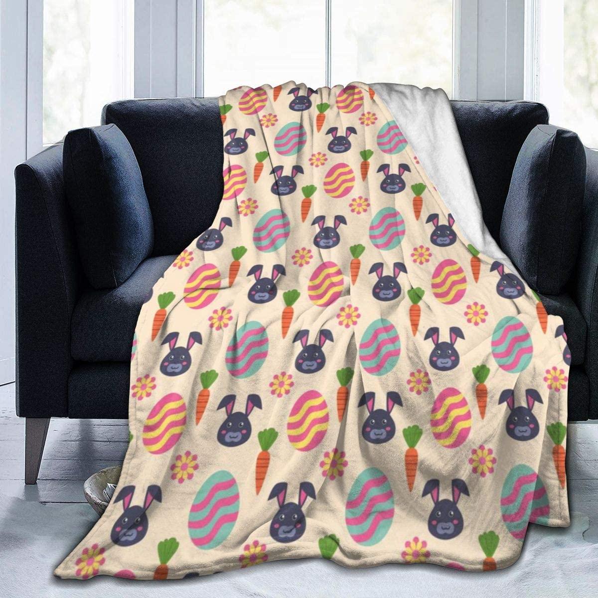 Easter Series-Black Rabbit Carrots and Eggs Throw Blanket for Kids Soft Fleece Blanket Children Bedroom Decor