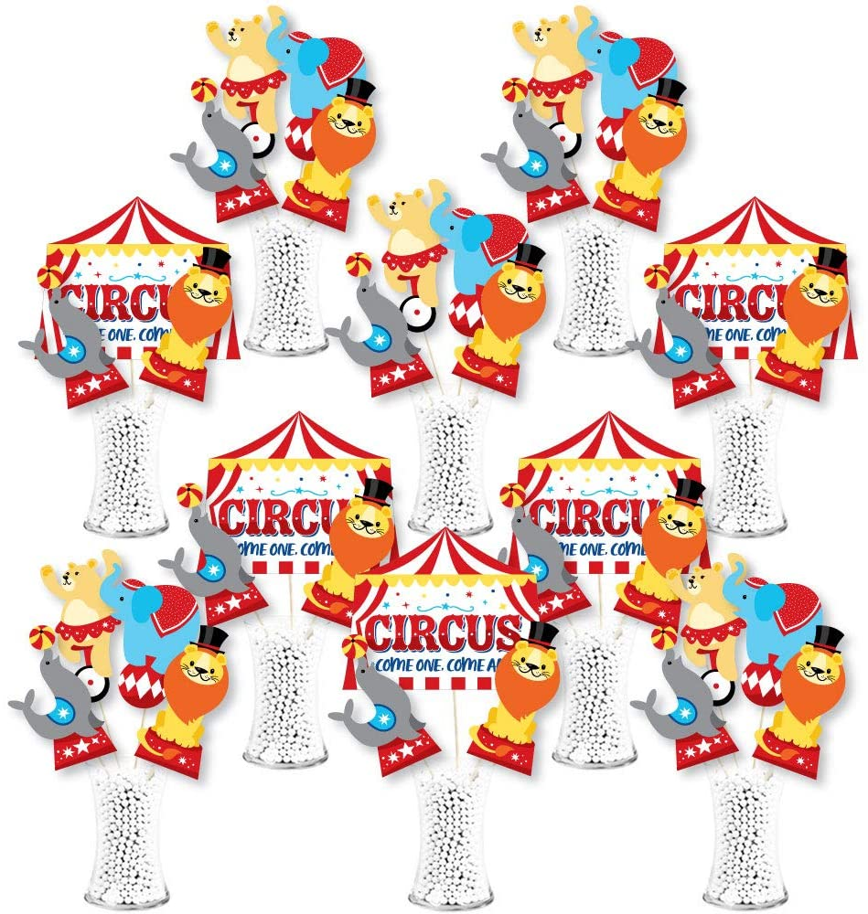 Big Dot of Happiness Carnival - Step Right Up Circus - Carnival Themed Party Centerpiece Sticks - Showstopper Table Toppers - 35 Pieces
