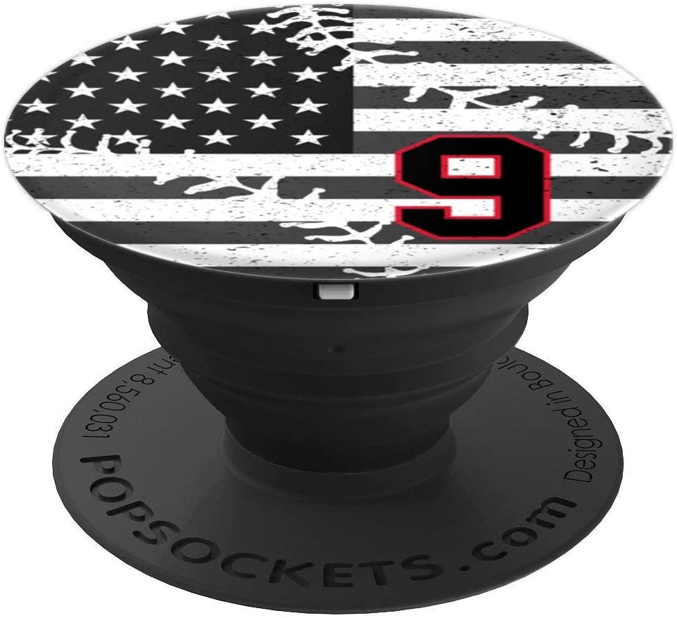 Baseball American USA Flag number 9 in black and red PopSockets Grip and Stand for Phones and Tablets