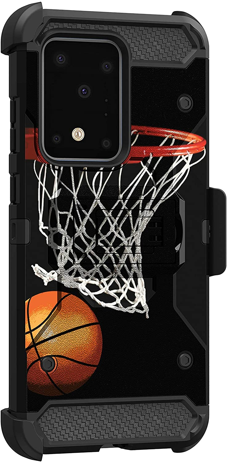 MINITURTLE Compatible with Samsung Galaxy S20 Ultra Heavy Duty Protective Holster Belt Clip Rugged Case Cover [Max Guard] - Basketball Net
