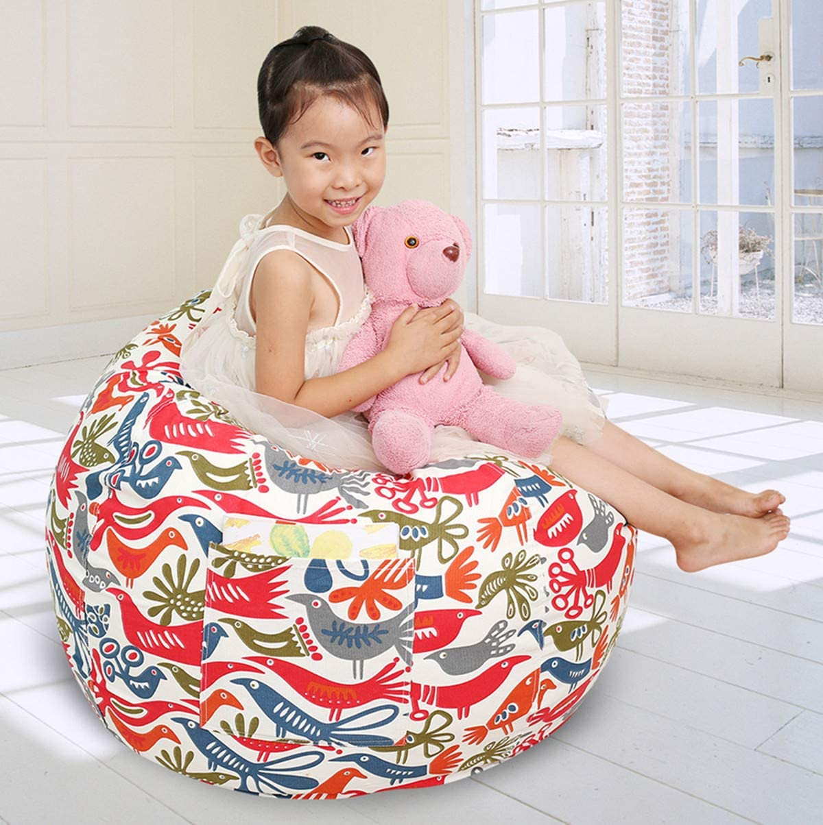 Great Eagle Stuffed Animal Storage Bean Bag Chair Cover|38X38 Inches Extra Large|100% Cotton Canvas | Bean Bag Chair for Kids, Toddlers and Teens(Boys or Girls)|Toy Storage Bag|White/ Birds