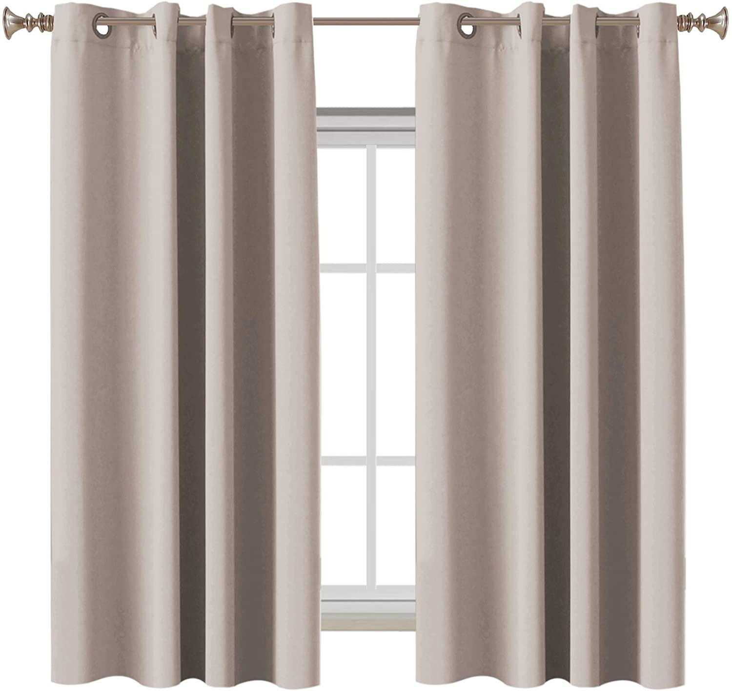 Blackout Curtains Three Pass Microfiber Noise Reducing 63 Inch Length Room Darkening Drapes for Bedroom, Energy Saving Window Treatment Panels for Living Room, Natural, 2 Panel, 52 by 63 Inch