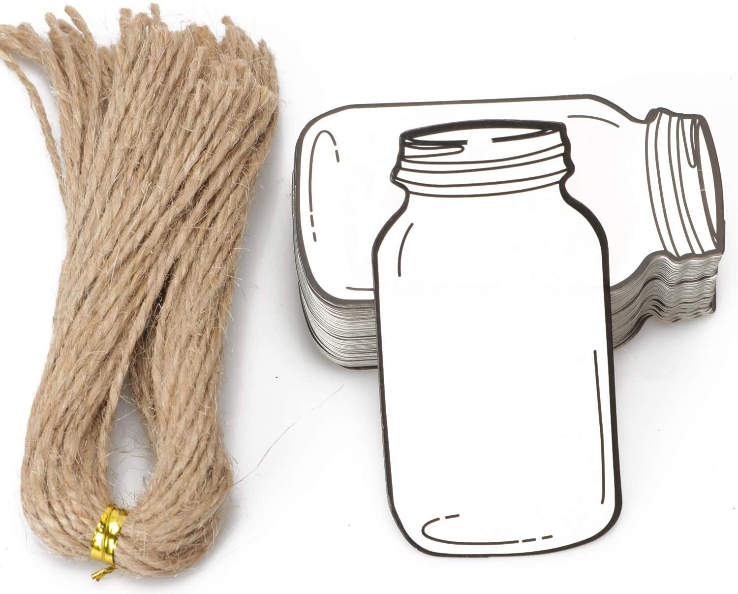 Gift Tags with Natural Jute Twine - 50PCS Kraft White Paper Hang Tags for Birthday Party, Wedding Decoration Gifts, Arts & Crafts