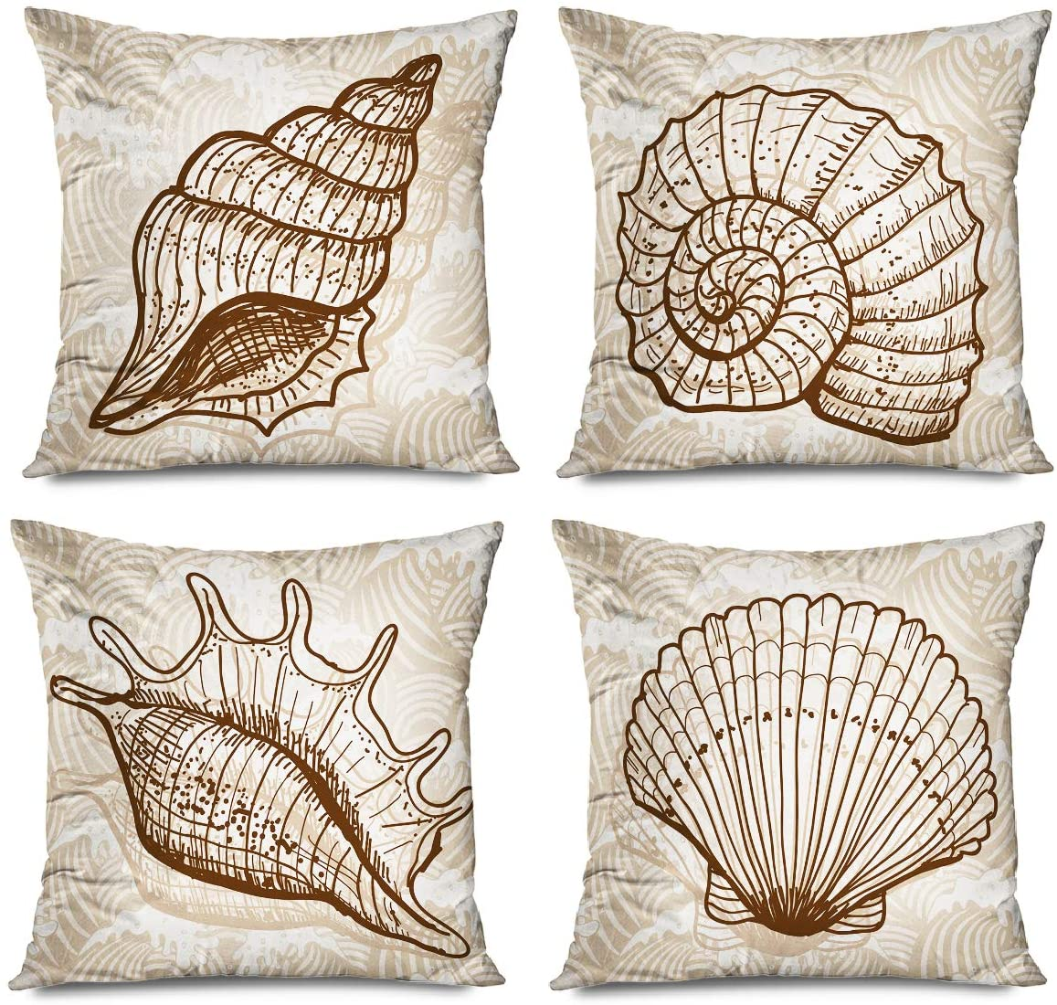 Onete Set of 4 Sea Shell Decorative Throw Pillow Cover Vintage Style Pillowcase 18 X 18 Inches