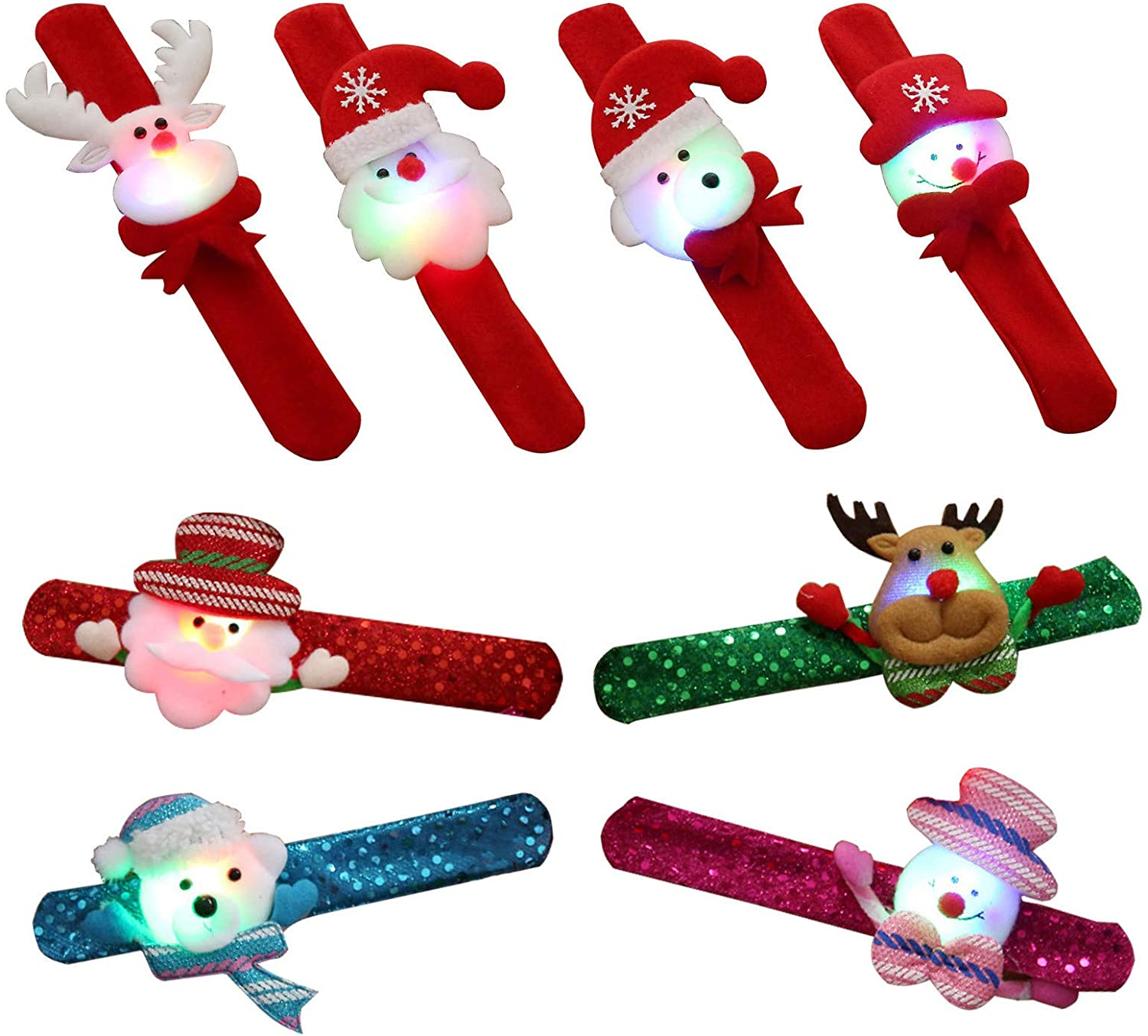 N/H 8PCS LED Christmas Slap Bracelets Wristband Glitter Santa Claus Snowman Bear Reindeer Christmas Circle Wrist Band Kids Boys Girls Adults Christmas Party Favors Ornament