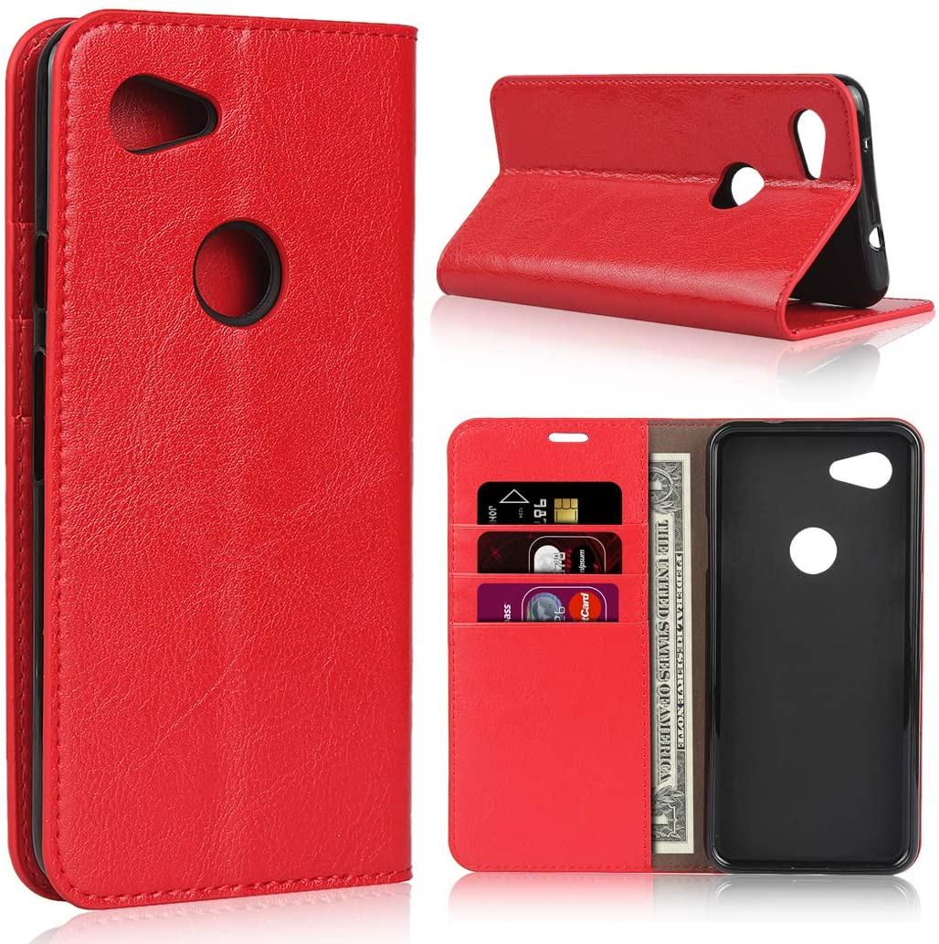 Google Pixel 3a XL Wallet Case, Sailortech Genuine Leather Case Flip Cover Protective Case with Credit Cards Holder & Kickstand Feature for Google Pixel 3axl Premium Leather Phone Case (6.0