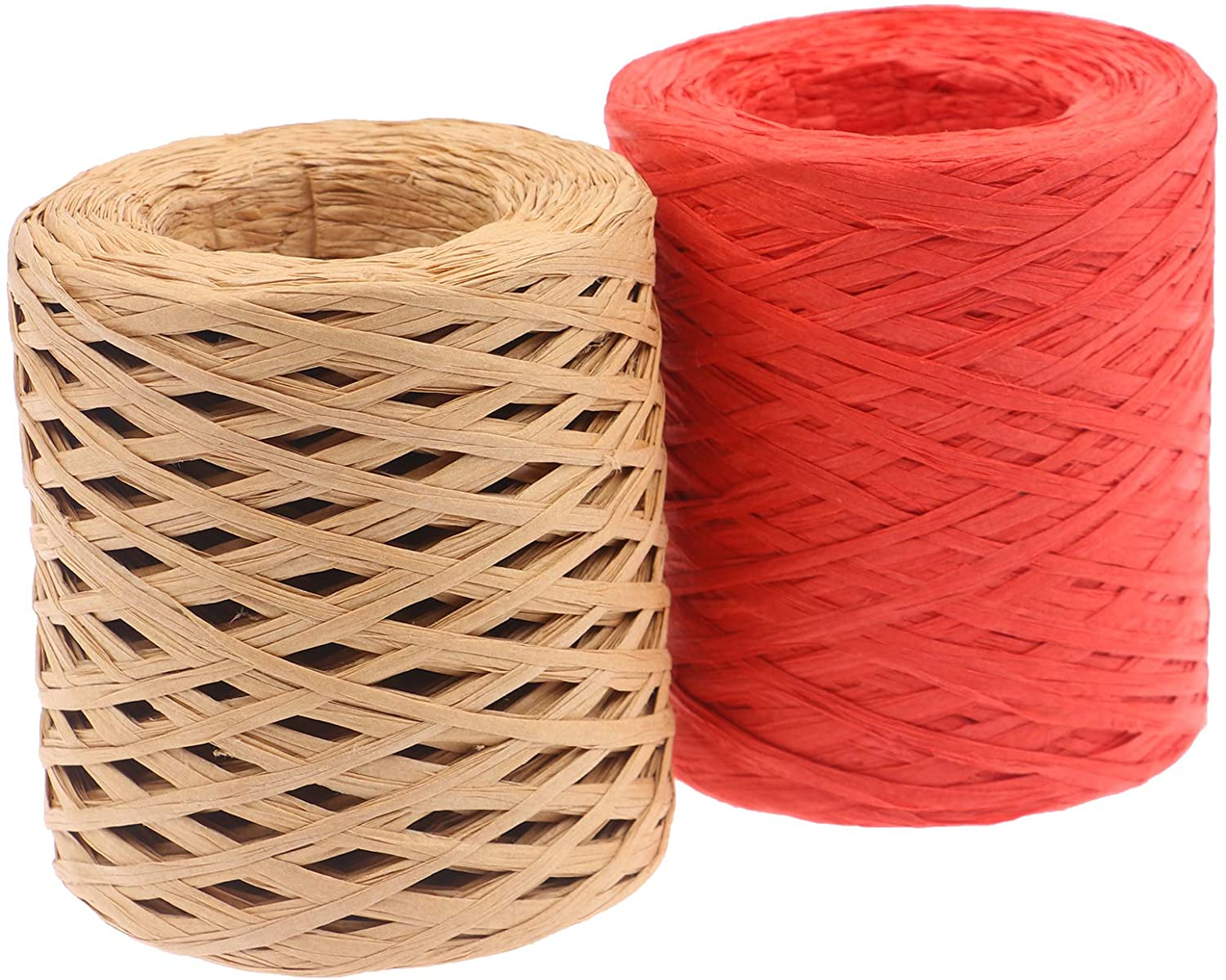 Wusteg 2 Roll Raffia Ribbon Raffia Paper Twine Total 417 Yards Natural Raffia Strings for Packing Set for DIY Craft Gift Box Packing (2 Colors)