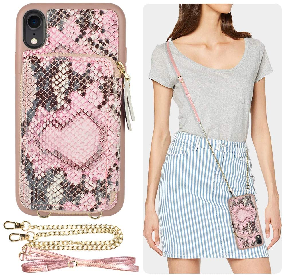 iPhone XR Wallet Case, ZVE iPhone XR Case with Credit Card Holder Slot Crossbody Chain Handbag Purse Shockproof Protective Zipper Leather Case Cover for Apple iPhone XR, 6.1 inch - Pink Snake Skin