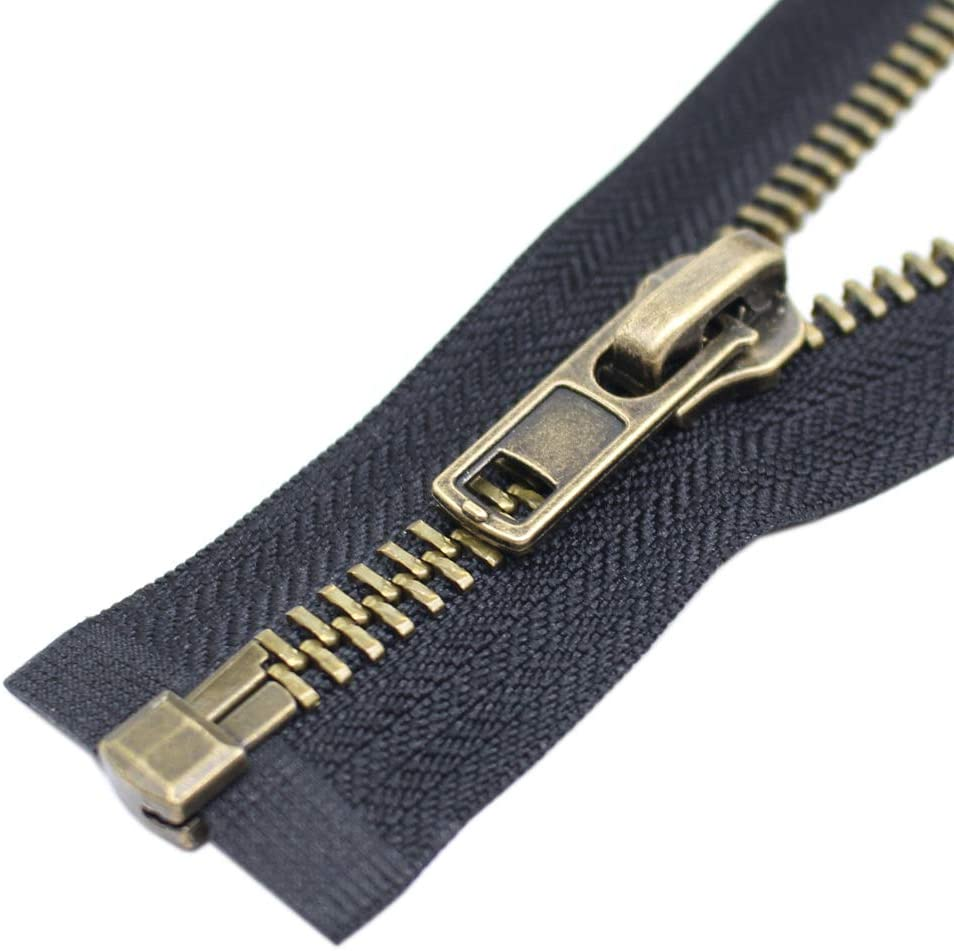YaHoGa #8 36 Inch Antique Brass Separating Jacket Zipper Y-Teeth Metal Zipper Heavy Duty Metal Zippers for Jackets Sewing Coats Crafts (36