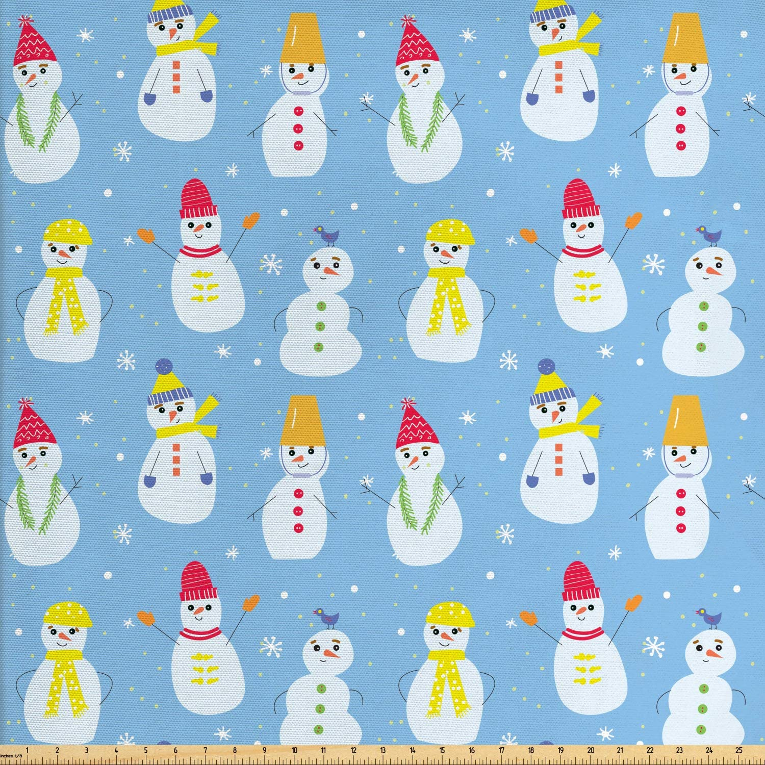 Ambesonne Snowman Fabric by The Yard, Snow Made Silhouettes with Colorful Winter Accessories Funny Design, Decorative Fabric for Upholstery and Home Accents, 1 Yard, Pale Blue and Multicolor