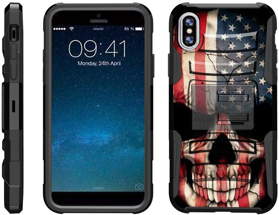 TurtleArmor | Compatible with Apple iPhone X Case | Apple iPhone 10 Case [Hyper Shock] Hybrid Dual Layer Armor Holster Belt Clip Case Kickstand - US Flag Skull