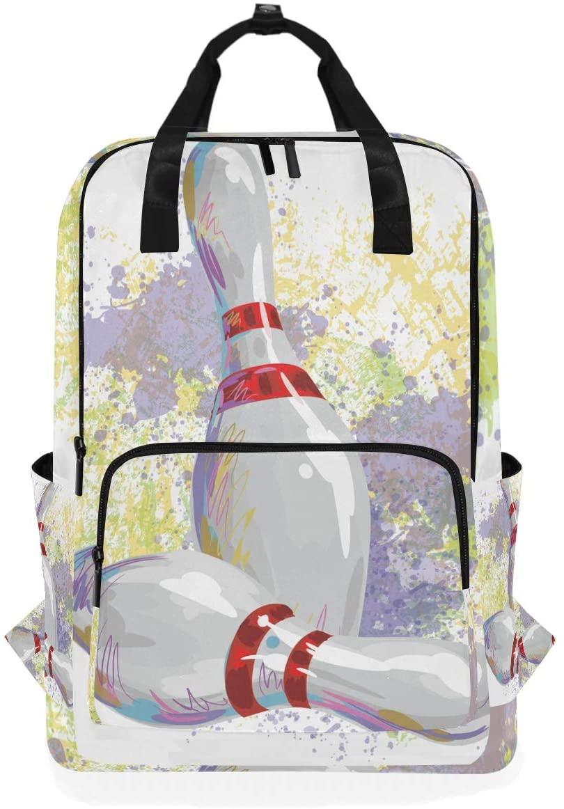 Bowling Art Print Backpack Bookbag for School Boys Girls Laptop Bag Travel Shoulder Bags Women Men