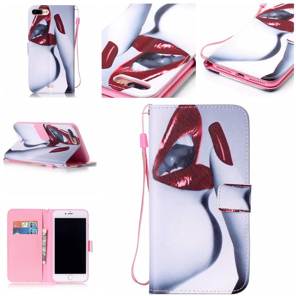 Life Sweetly iPhone SE 2020/iPhone 8/iPhone 7 Case, Red Lips Style Fashionable Wrist Strap Protective Stand Folio Wallet Flip Cover Case for iPhone SE 2nd Gen 2020 / iPhone 8/7