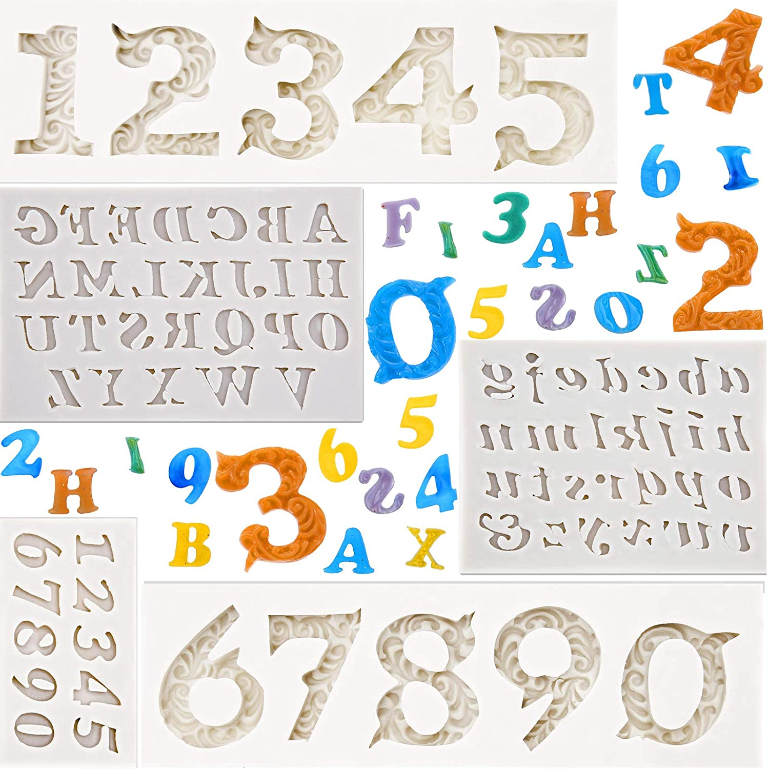 5 Pieces Silicone Number Letter Mold 3D Embossed Number Silicone Mold Letters Silicone Fondant Mold for DIY Topper Cake Decorating Sugar Chocolate Cookies Polymer Clay and Crafting Projects