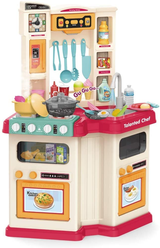 yog Kids Kitchen Playset Role Play with Realistic Cooking Spray and Water Boiling Sounds Large Plastic Play Kitchen for Boy and Girl,(US Stock)