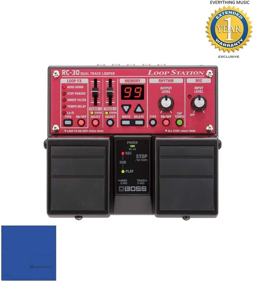 Boss RC-30 Loop Station & Pig Power 9V PP9V DC 1000ma Power Supplywith 1 Year Free Extended WarrantyandMicrofiber
