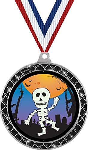 Skeleton Black Trellis Medal Silver, 2.5