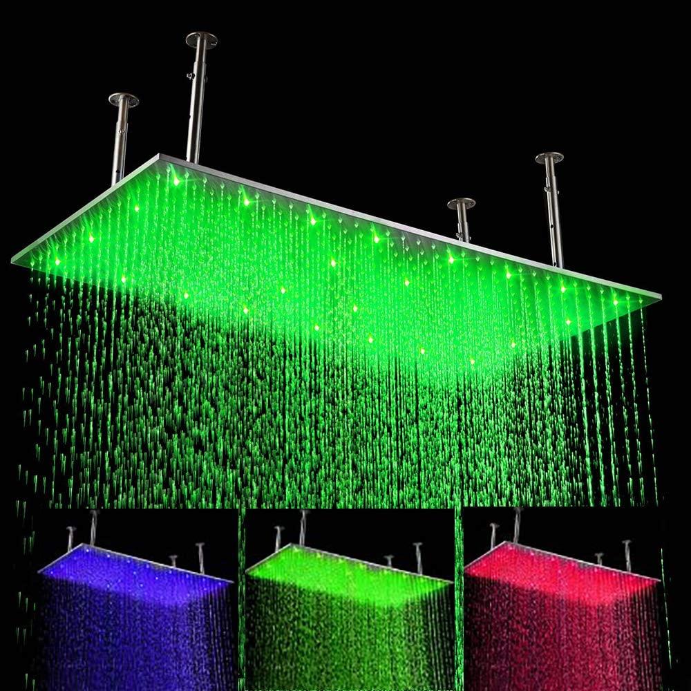 Cascada 20 X 39 Inch Luxury Large Recangular LED Rain Bathroom Showerheads Brushed Stainless Steel
