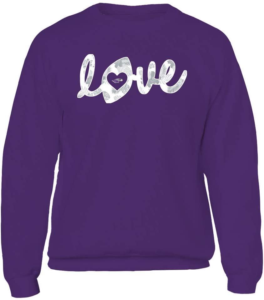 FanPrint Wisconsin-Whitewater Warhawks Sweatshirt - Football - Love Lowercase - Tropical Pattern - Crewneck Sweatshirt/Purple / 3XL