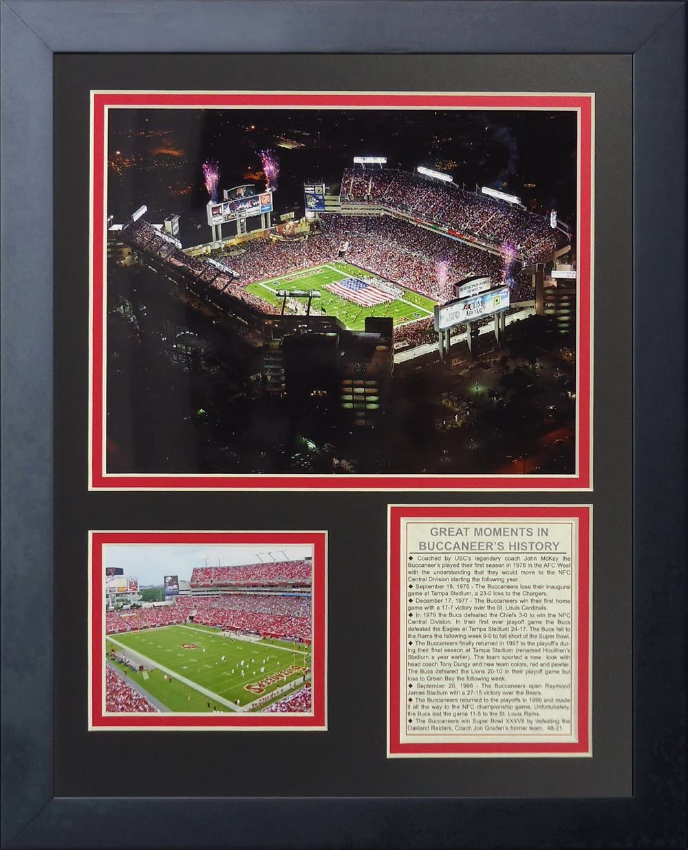 Legends Never Die Tampa Bay Buccaneers Raymond James Stadium Framed Photo Collage, 11 by 14-Inch